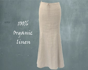organic linen A-line maxi skirt, biological certified linen maxi skirt, long linen skirt, sustainable clothing, fair trade, fair fashion