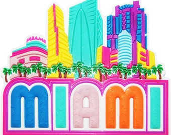 Miami Colorful Skyline Rubber Magnet