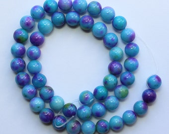 8mm Multi Colored Beads Blue Purple Green Jade Rounds 15 inch Strand 48 Beads Stone Gemstone
