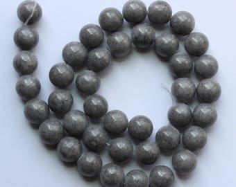 10mm Grey Beads Gray Jade Rounds 15 inch Strand 37 Beads Stone Gemstone