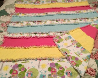 Baby girl cute owl three layer rag quilt.