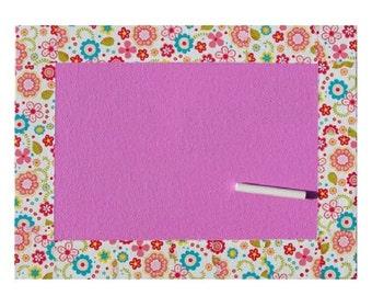 Slate girl - pink flowers