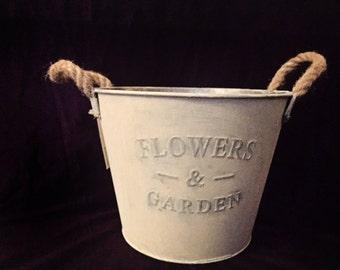 SUMMER SALE!! bucket for flowers. decor bucket. white metal decor bucket .