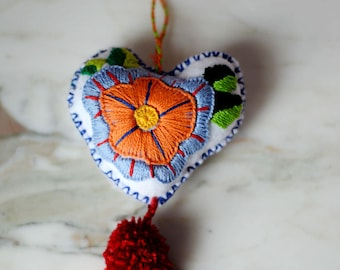 Felt Heart Handmade Mexican Flower Embroidered Colorful Heart Decoration Holiday Ornament Mexico Fair Trade Artisan