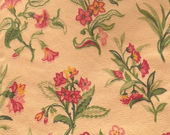 Stunning Vintage cream and pink floral fabric c1940/50  1.20m