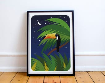 Toucan Bird Print - Toucan in the Jungle Poster - Toucan Illustration