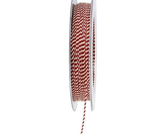 25 Meters Twisted Cord Rope, white and red fabric twised cord, whole sale