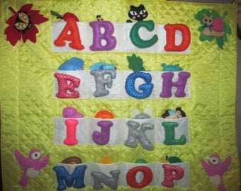 Alphabet with animals made of felt. Handmade