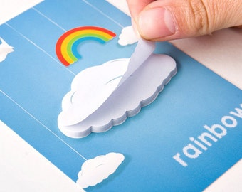 Fluffy Cloud Sticky Notes,Notepad, Mini Notepad,Rainbow