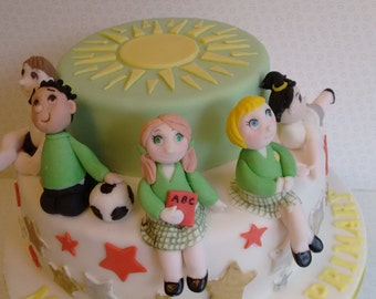 Handmade,edible, customized shoolchildren cake topper set