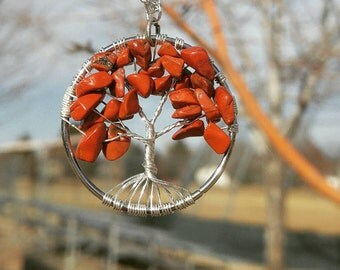 Tree of Life Necklace Red Jasper