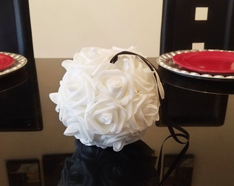 "7"" Kissing Ball, Flower Ball Pomander, Flower Ball Centerpiece, Wedding Flower Ball, Foam Flower Ball, Silk Flower Ball, Wedding Pomander"