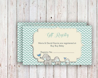 Baby Registry Cards / Registry Inserts / Baby Shower Gift Registry Inserts / Baby Shower Invitation Inserts / Elephant Baby Shower, Registry