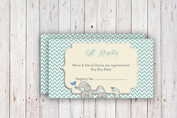 Baby Registry Cards / Registry Inserts / Baby Shower Gift