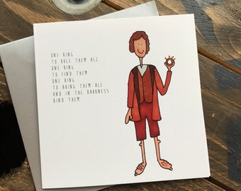 Frodo Hobbit Lord of The Rings illustrated greeting card - One ring to rule them all