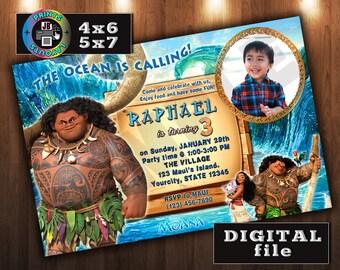 MAUI on Disney Moana Birthday Invitation, CUSTOM Digital File, Any age, With Photo (MD#4)