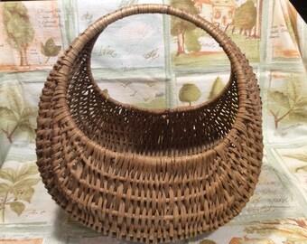 Vintage woven wicker basket, home decor, collectible