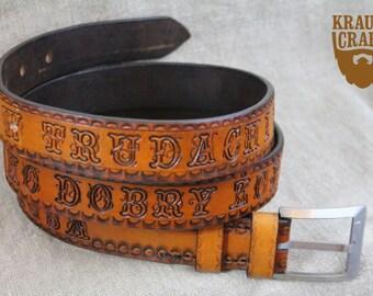 Leather belt with sentence, customized handmade
