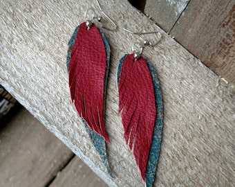 Red and Turquoise Feather Leather Earrings
