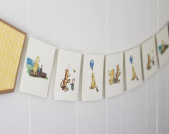 Nursery Banner Classic Winnie the Pooh, Nursery Watercolor Pooh Banner, Classic Pooh Postcard decor,