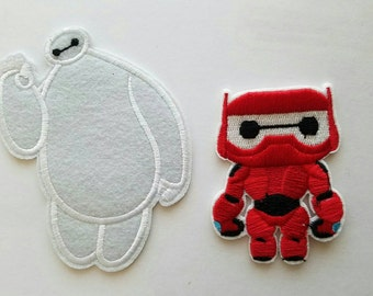 Big Hero iron on inspired patch, Big Hero embroidery patch inspired, Baymax birthday party inspired applique