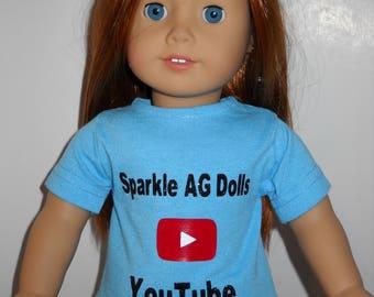 18″ doll T-shirt ( color blue )