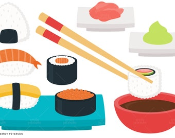 Sushi, Japanese, Wasabi, Ginger - Cute Clipart, Clip Art - Commercial Use, Instant Download