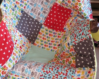 Modern baby quilt or blanket, handmade baby quilt,  Minky backing, owls, elephants, foxes, birds, colorful, Patchwork Quilt, I Spy Quilt