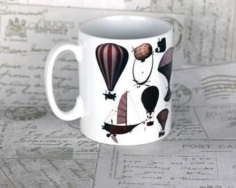 Steampunk airship balloon mug