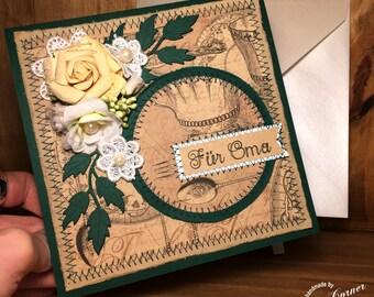 Handmade card for Grandma, grandmother, sewing, vintage