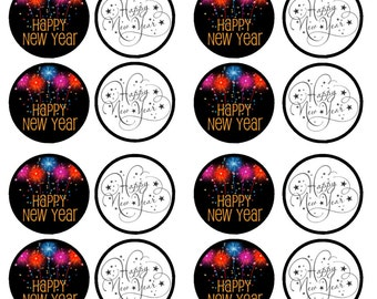 Happy New Year Edible Wafer Rice Paper Cake Cupcake Toppers x 24