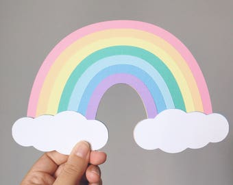 Pastel Rainbow Wall Art or Cake Topper