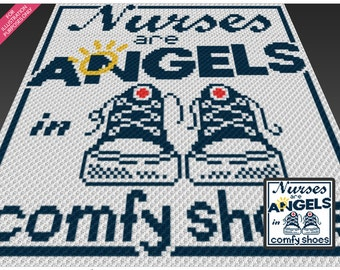 Nurses Are Angels crochet blanket pattern; c2c, cross stitch; knitting; graph; pdf download; no written counts or row-by-row instructions