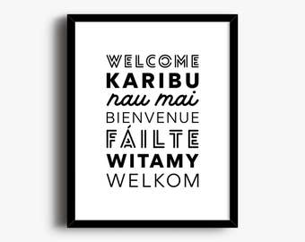 Welcome Print, Welcome Language Print, Housewarming Gift, Welcome Poster, Welcome Sign, Language Wall Art, Office Print, Welcome