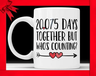 55th Anniversary Coffee Mug - 20075 Days Together But Who's Counting Funny Wedding Anniversary Gift, 55th year Anniversary Gifts Jubilee Cup