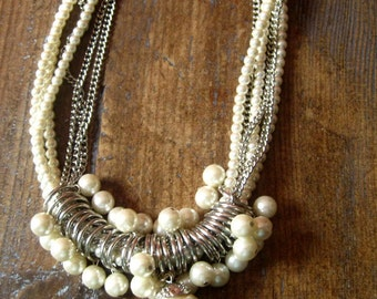 """1 """"fancy"""" 1970/1980.antique jewelry necklace. Gift Idea.collier of pearls. Vintage jewelry. Gifts"""
