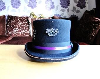 Purple Raven Steampunk Top Hat