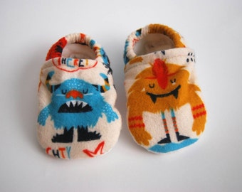 """Flannel """"Monster"""" Baby Slippers - Fleece Lined - Tread, No Slip Sole (booties, shoes)"""