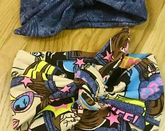 Comics headband, headband with bow, jeans headband, baby headwrap, mommy and me headband, turban with bow