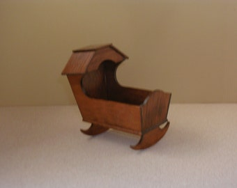 MINIATURE DOLLHOUSE wooden CRADLE