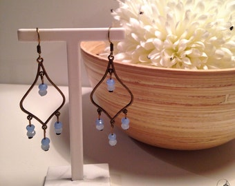 Earrings bronze and blue pearls