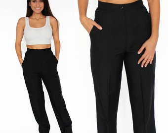 "Black Wide Leg High Waisted Trouser Pants 26"" Waist S/M"