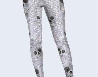 Skulls Leggings, Diamonds Tights, Leggings Women, Grey Leggings, Ladies Leggings, Fashion Leggings