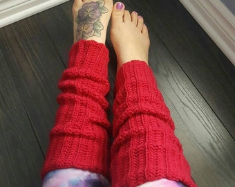 Pink Raspberry Crochet Leg Warmers
