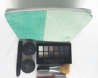 Mint green and off white handwoven zippered cosmetic bag - great to organize your purse for cards, coins or makeup