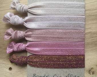 Shades of pink elastic hair ties