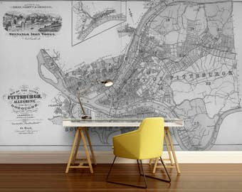 city map wallpaper, street wall mural, Philadelphia map wallpaper, mural, self-adhesive vinly, world map wall mural, city map wall mural