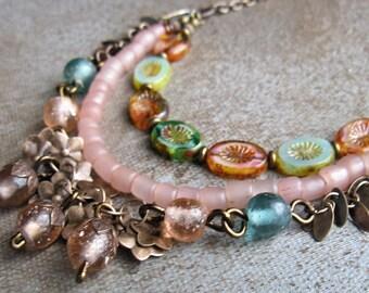 Vintage Boho necklace, rustic garden necklace, soft pink necklace, romantic jewelry, rustic boho jewelry, multi strand vintage necklace