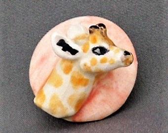 Giraffe Handmade Porcelain Button