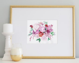 Flower Bouquet Print, 8x10, Digital Download, Flowers, Art Print